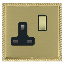 Hamilton Linea-Georgian CFX Polished Brass/Satin Brass 1 Gang 13A Switched Socket - Double Pole with Black Insert