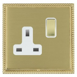 Hamilton Linea-Georgian CFX Polished Brass/Satin Brass 1 Gang 13A Switched Socket - Double Pole with White Insert