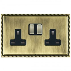 Hamilton Linea-Georgian CFX Antique Brass/Antique Brass 2 Gang 13A Switched Socket - Double Pole with Black Insert