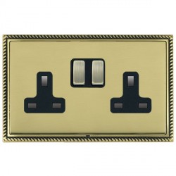 Hamilton Linea-Georgian CFX Antique Brass/Polished Brass 2 Gang 13A Switched Socket - Double Pole with Black Insert