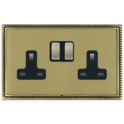 Hamilton Linea-Georgian CFX Antique Brass/Satin Brass 2 Gang 13A Switched Socket - Double Pole with Black Insert