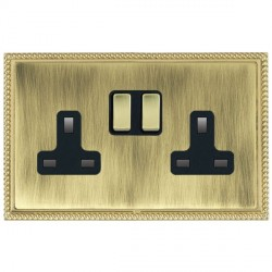 Hamilton Linea-Georgian CFX Polished Brass/Antique Brass 2 Gang 13A Switched Socket - Double Pole with Black Insert