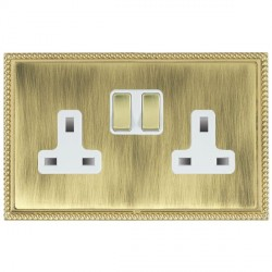 Hamilton Linea-Georgian CFX Polished Brass/Antique Brass 2 Gang 13A Switched Socket - Double Pole with White Insert