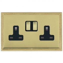 Hamilton Linea-Georgian CFX Polished Brass/Polished Brass 2 Gang 13A Switched Socket - Double Pole with Black Insert