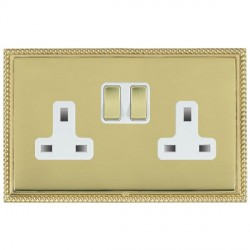Hamilton Linea-Georgian CFX Polished Brass/Polished Brass 2 Gang 13A Switched Socket - Double Pole with White Insert