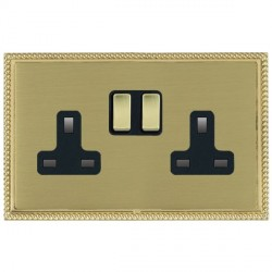 Hamilton Linea-Georgian CFX Polished Brass/Satin Brass 2 Gang 13A Switched Socket - Double Pole with Black Insert
