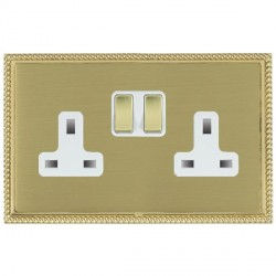 Hamilton Linea-Georgian CFX Polished Brass/Satin Brass 2 Gang 13A Switched Socket - Double Pole with White Insert