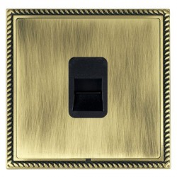 Hamilton Linea-Georgian CFX Antique Brass/Antique Brass 1 Gang Telephone Master with Black Insert