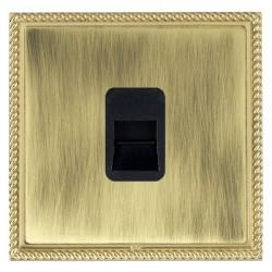 Hamilton Linea-Georgian CFX Polished Brass/Antique Brass 1 Gang Telephone Master with Black Insert