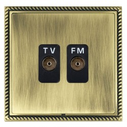 Hamilton Linea-Georgian CFX Antique Brass/Antique Brass 2 Gang Isolated Television/FM 1in/2out with Black Insert