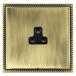 Hamilton Linea-Georgian CFX Antique Brass/Antique Brass 1 Gang 2A Unswitched Socket with Black Insert
