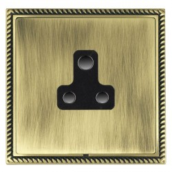 Hamilton Linea-Georgian CFX Antique Brass/Antique Brass 1 Gang 5A Unswitched Socket with Black Insert