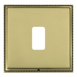 Hamilton Linea-Perlina CFX Antique Brass/Polished Brass 1 Gang Grid Fix Aperture Plate with Grid