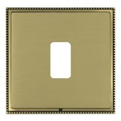 Hamilton Linea-Perlina CFX Antique Brass/Satin Brass 1 Gang Grid Fix Aperture Plate with Grid