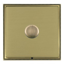 Hamilton Linea-Perlina CFX Antique Brass/Satin Brass Push On/Off Dimmer 1 Gang 2 way Inductive with Antiq...