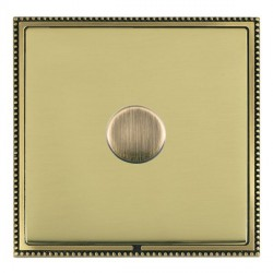 Hamilton Linea-Perlina CFX Antique Brass/Polished Brass Push On/Off Dimmer 1 Gang 2 way with Antique Bras...