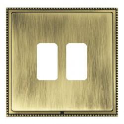 Hamilton Linea-Perlina CFX Antique Brass/Antique Brass 2 Gang Grid Fix Aperture Plate with Grid