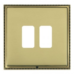 Hamilton Linea-Perlina CFX Antique Brass/Polished Brass 2 Gang Grid Fix Aperture Plate with Grid
