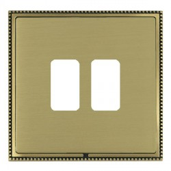 Hamilton Linea-Perlina CFX Antique Brass/Satin Brass 2 Gang Grid Fix Aperture Plate with Grid