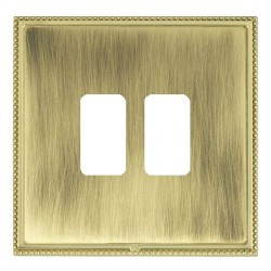 Hamilton Linea-Perlina CFX Polished Brass/Antique Brass 2 Gang Grid Fix Aperture Plate with Grid