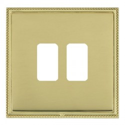 Hamilton Linea-Perlina CFX Polished Brass/Polished Brass 2 Gang Grid Fix Aperture Plate with Grid