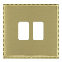 Hamilton Linea-Perlina CFX Polished Brass/Satin Brass 2 Gang Grid Fix Aperture Plate with Grid