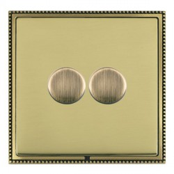 Hamilton Linea-Perlina CFX Antique Brass/Polished Brass Push On/Off Dimmer 2 Gang 2 way with Antique Bras...