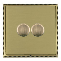 Hamilton Linea-Perlina CFX Antique Brass/Satin Brass Push On/Off Dimmer 2 Gang 2 way with Antique Brass I...