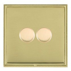 Hamilton Linea-Perlina CFX Polished Brass/Polished Brass Push On/Off Dimmer 2 Gang 2 way with Polished Br...