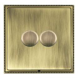 Hamilton Linea-Perlina CFX Antique Brass/Antique Brass Push On/Off Dimmer 2 Gang Multi-way Trailing Edge ...