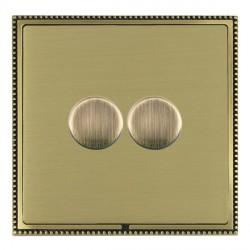 Hamilton Linea-Perlina CFX Antique Brass/Satin Brass Push On/Off Dimmer 2 Gang Multi-way Trailing Edge wi...