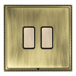 Hamilton Linea-Perlina CFX Antique Brass/Antique Brass 2 Gang Multi way Touch Master Trailing Edge with B...