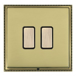 Hamilton Linea-Perlina CFX Antique Brass/Polished Brass 2 Gang Multi way Touch Master Trailing Edge with ...