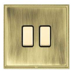 Hamilton Linea-Perlina CFX Polished Brass/Antique Brass 2 Gang Multi way Touch Master Trailing Edge with ...