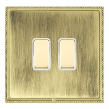 Hamilton Linea-Perlina CFX Polished Brass/Antique Brass 2 Gang Multi way Touch Master Trailing Edge with White Insert