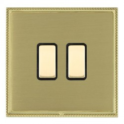 Hamilton Linea-Perlina CFX Polished Brass/Satin Brass 2 Gang Multi way Touch Master Trailing Edge with Bl...