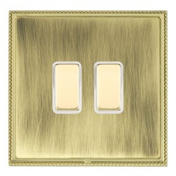 Hamilton Linea-Perlina CFX Polished Brass/Antique Brass 2 Gang Multi way Touch Slave Trailing Edge with White Insert