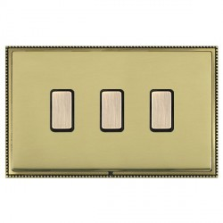 Hamilton Linea-Perlina CFX Antique Brass/Polished Brass 3 Gang Multi way Touch Master Trailing Edge with ...