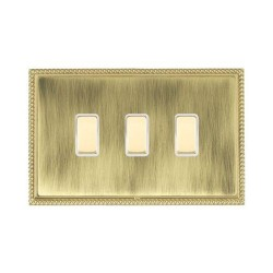 Hamilton Linea-Perlina CFX Polished Brass/Antique Brass 3 Gang Multi way Touch Master Trailing Edge with White Insert