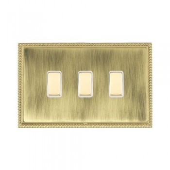 Hamilton Linea-Perlina CFX Polished Brass/Antique Brass 3 Gang Multi way Touch Slave Trailing Edge with White Insert