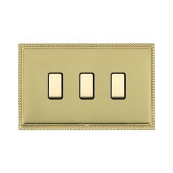 Hamilton Linea-Perlina CFX Polished Brass/Polished Brass 3 Gang Multi way Touch Slave Trailing Edge with ...