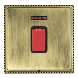 Hamilton Linea-Perlina CFX Antique Brass/Antique Brass 1 Gang 45A Double Pole Red Rocker + neon with Black Insert