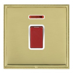 Hamilton Linea-Perlina CFX Polished Brass/Polished Brass 1 Gang 45A Double Pole Red Rocker + neon with White Insert