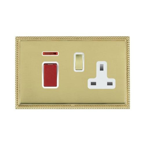 Linea-Perlina CFX Polished Brass/Polished Brass 1 Gang Double Pole 45A Red Rocker + 13A Switched Socket