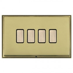 Hamilton Linea-Perlina CFX Antique Brass/Polished Brass 4 Gang Multi way Touch Master Trailing Edge with ...