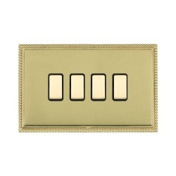 Hamilton Linea-Perlina CFX Polished Brass/Polished Brass 4 Gang Multi way Touch Master Trailing Edge with...