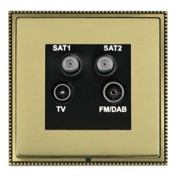 Hamilton Linea-Perlina CFX Antique Brass/Polished Brass TV+FM+SAT+SAT (DAB Compatible) with Black Insert