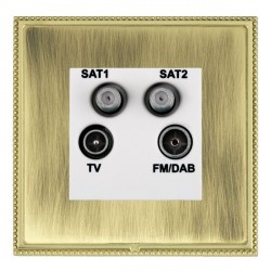 Hamilton Linea-Perlina CFX Polished Brass/Antique Brass TV+FM+SAT+SAT (DAB Compatible) with White Insert