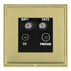 Hamilton Linea-Perlina CFX Polished Brass/Polished Brass TV+FM+SAT+SAT (DAB Compatible) with Black Insert