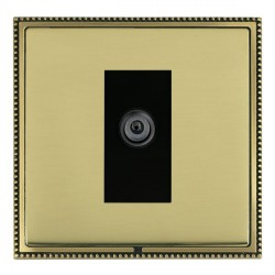 Hamilton Linea-Perlina CFX Antique Brass/Polished Brass 1 Gang Digital Satellite with Black Insert